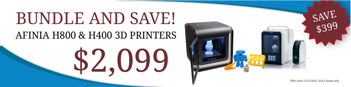 Bundle & Save on Afinia 3D Printers! Save $399