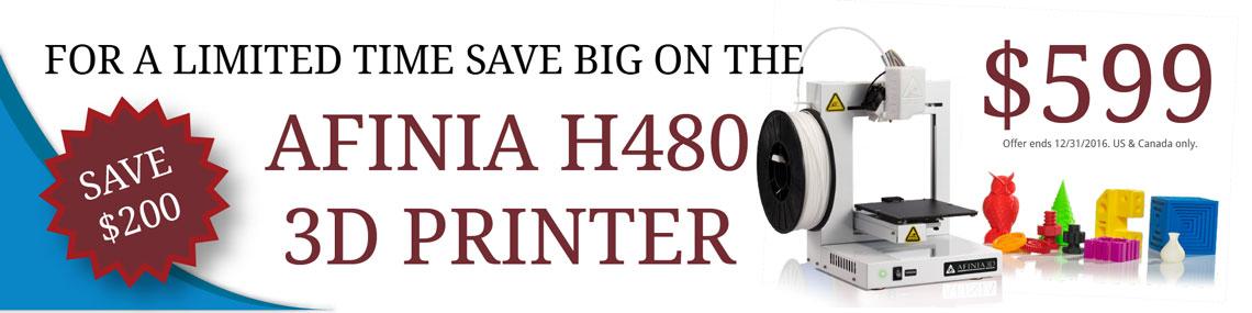 Afinia H480 Desktop 3D Printer only $599 - Save $200