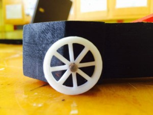 Close-up of a 3D printed wheel.