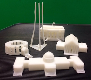 Students 3D printed Washington D.C. monuments for a social studies class.