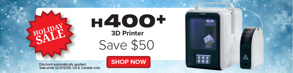 H400 plus Holiday 2018 promotion deal from Afinia 3D