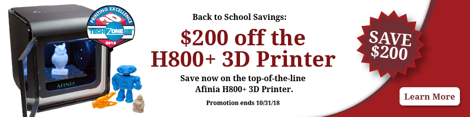 Save $200 on the Afinia H800 Plus 3D Printer