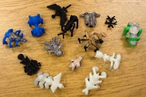 An assortment of 3D-printed bugs, designed by Barnett's students.