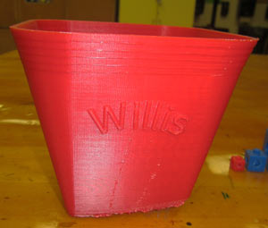 Willis' print demonstrating the Afinia's 5x5x5 inch build area.