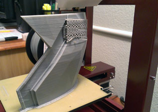 Afinia 3D support material shown on the MK 42 Prototype
