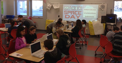 Students learning subjects of their choice on Maker Space Day
